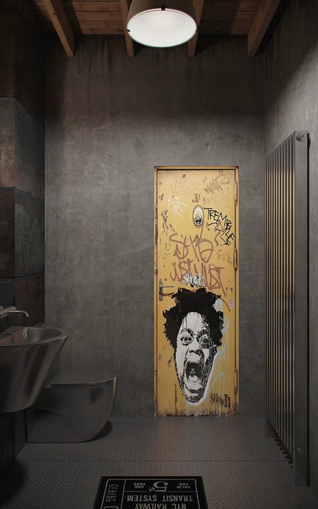 Очень креативная ванная комната в стиле индастриал