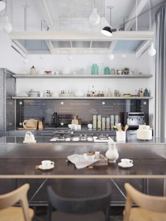 """""""Воздушная"""" кухня, выполненная в серых тонах"""