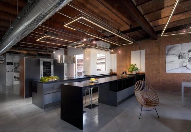 Шикарная кухня в индустриальном стиле