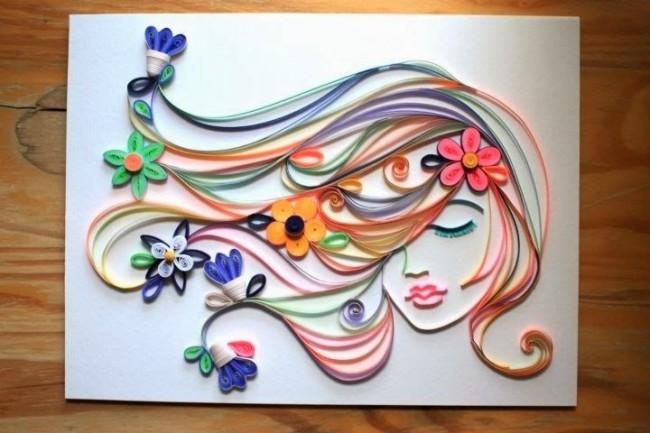 Картина, выполненная в технике квиллинг - красиво и нежно