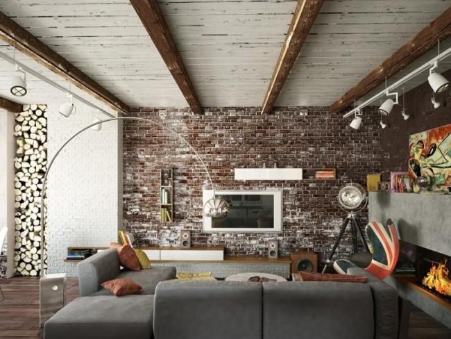 Кирпичная стена в интерьере гостиной комнаты выглядит модно, актуально и современно. Данное решение придаёт помещению особый стиль и характер