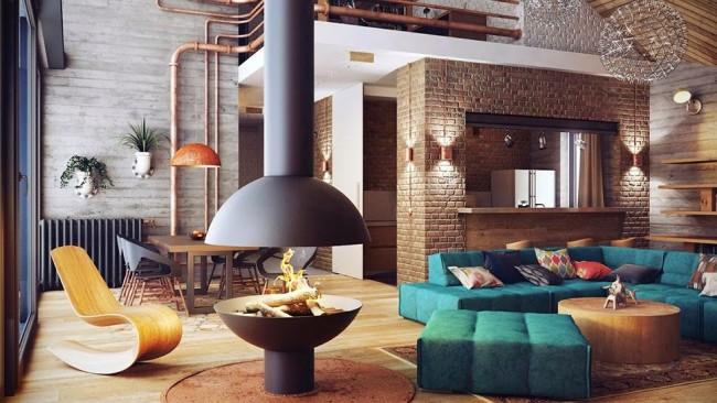 Гостиная с кирпичной стеной, выступающей основным декоративным акцентом, может быть очень уютной и стильной