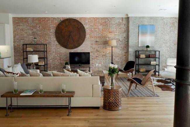 Кирпичная стена в комнате является выразительной частью, с помощью которой дизайнеры создают поистине впечатляющие интерьеры