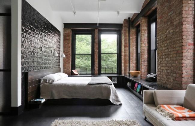 Прекрасная спальня в стиле лофт