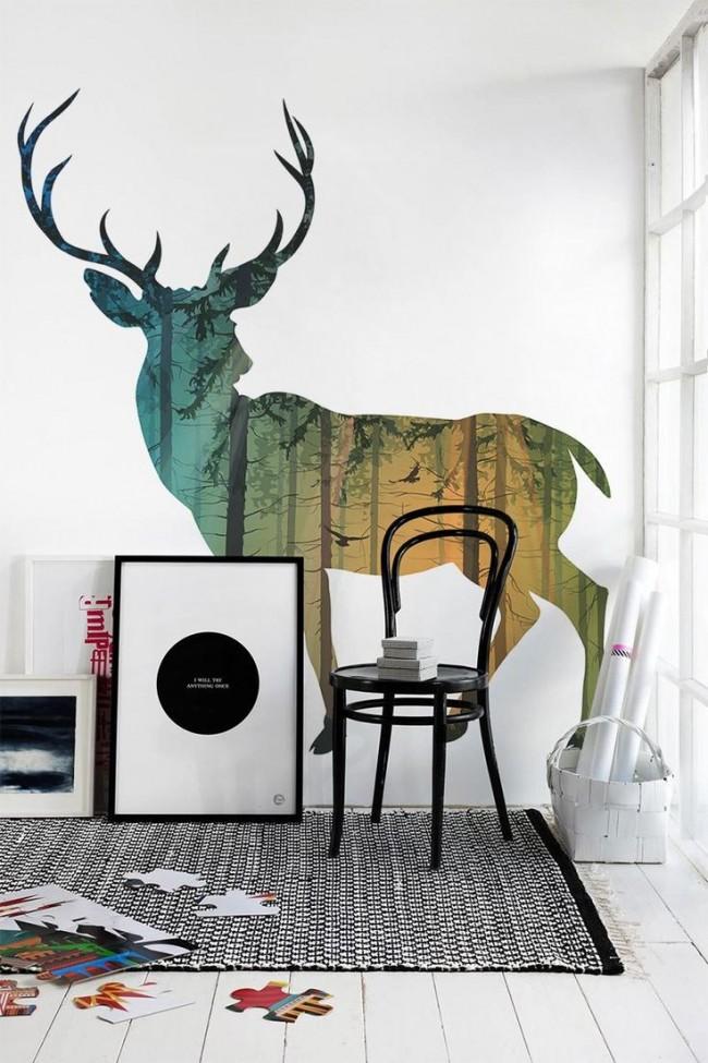 Большой олень на стене всегда будет удивлять и восторгать Ваших гостей