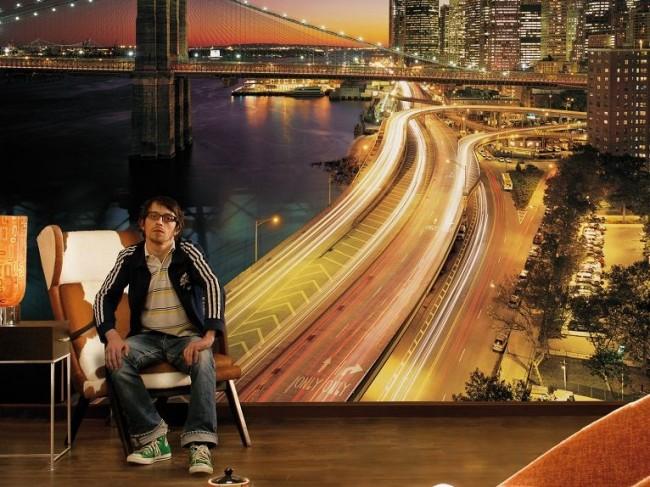 Бруклинский мост вечернего Нью-Йорка будет прекрасно смотреться на стене вашей гостиной