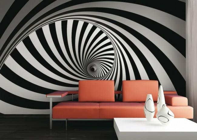 Черно-белые спирали в современной гостиной