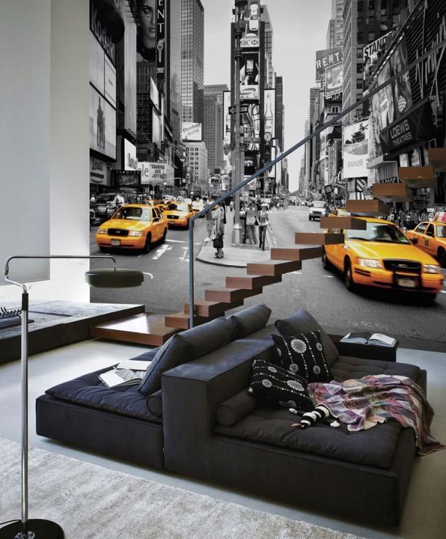 3Д фотообои в интерьере гостиной современного стиля