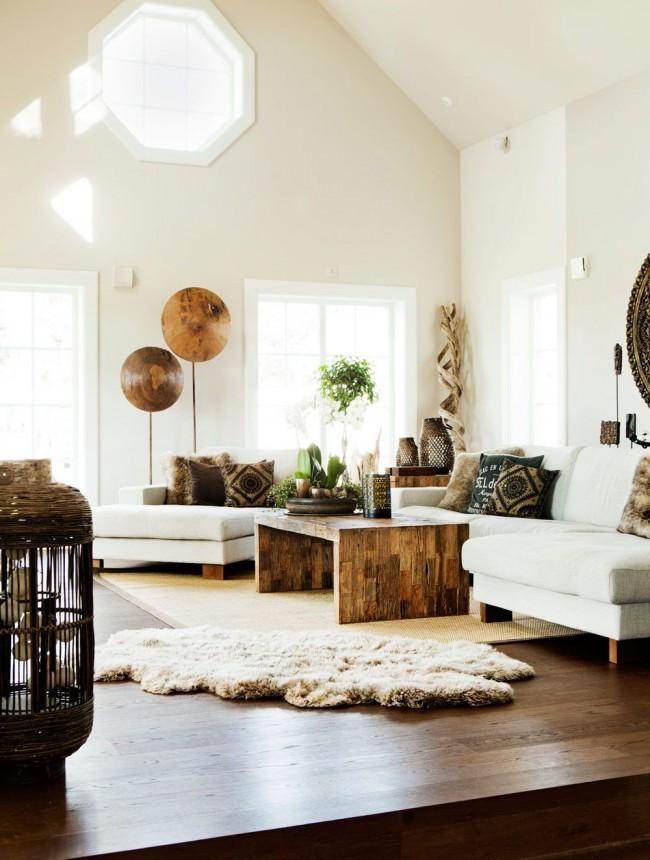 Гостиная комната в эко стиле с использованием американского ореха