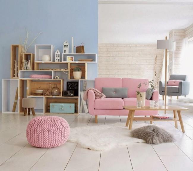 Легкие и светлые пастельные тона наблюдаются, как в окраске стен, так и в мебели