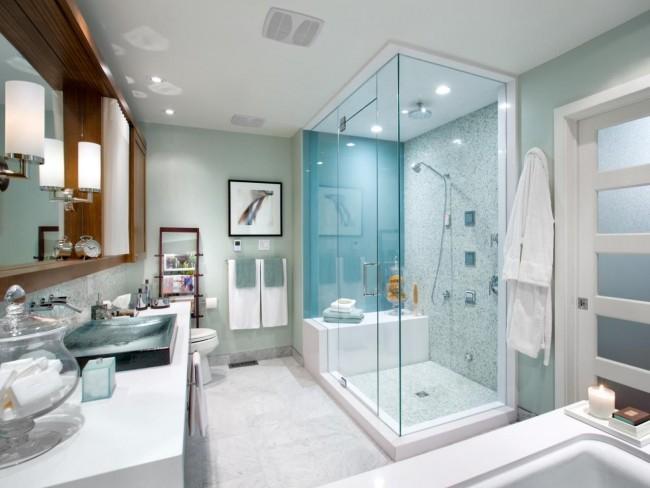 Серо-бирюзовые стены, как вариант для ванной комнаты