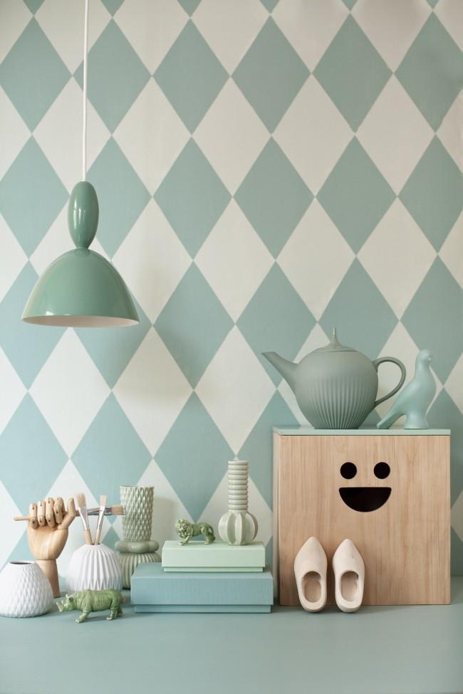Необычный вариант окрашивания стен подойдет для кухни или детской комнаты