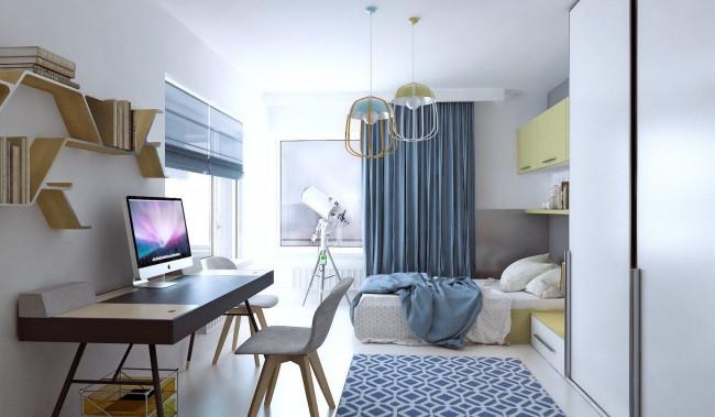 В небольших квартирах выделить отдельное помещения для кабинета зачастую нет возможности, поэтому его может сделать в любой из комнат