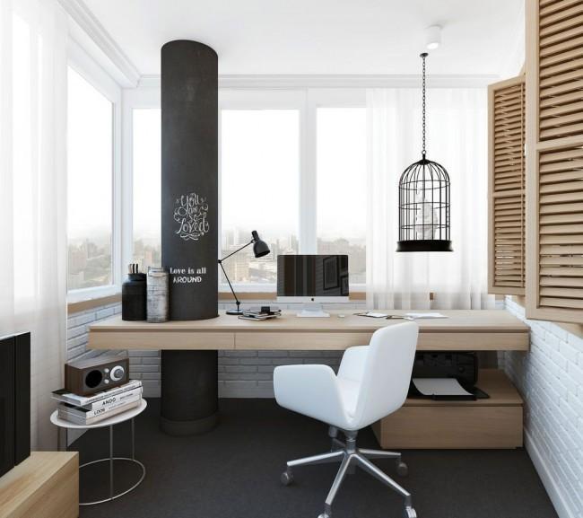 Утепленные и застекленные лоджии легко вмещают средних размеров письменный стол со всем необходимым, превращаясь в уютный современный кабинет, достаточно изолированный, чтобы вам не мешали работать и творить