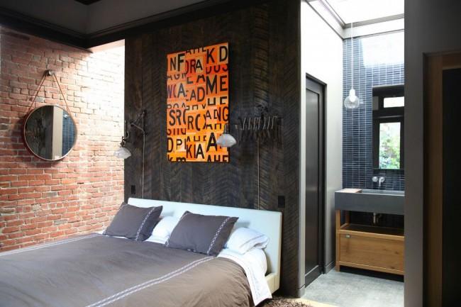 Спальная комната в стиле лофт для смелых и неординарных личностей