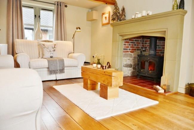 Котел на дровах в интерьере гостиной классического стиля