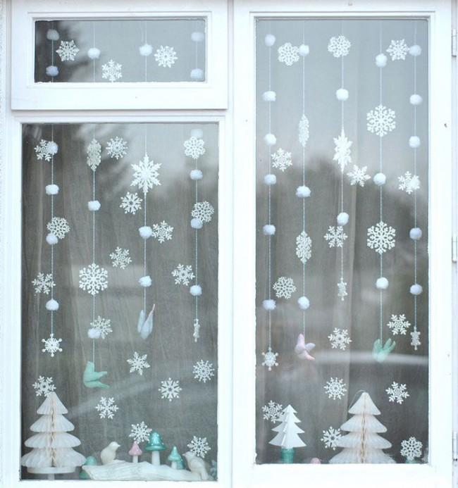 Снежные шарики и снежинки легкое и очень красивое творение своими руками