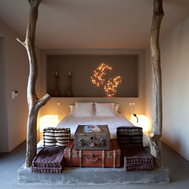 Удачное решение оформления комнаты предметами разной величины