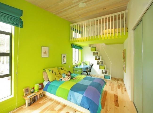 Салатовый цвет в сочетании с оливковым увеличат пространство в комнате