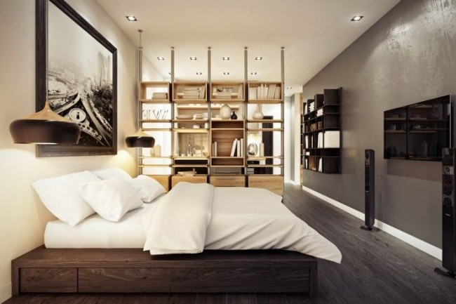 Открытые полочки помогут комнате оставаться такой-же светлой