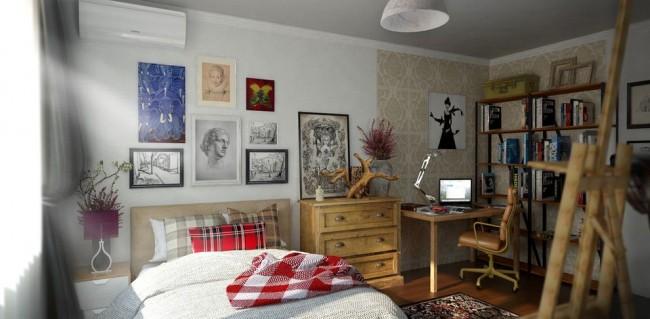 Рабочая зона со спальной разделена комодом