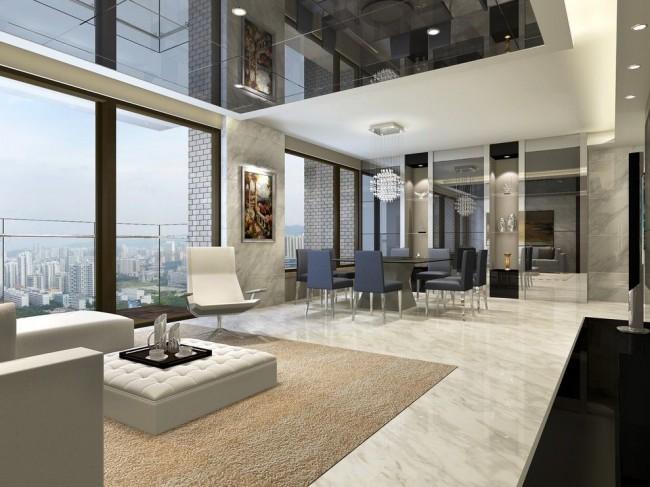 Зеркальный потолок - это стильное решение для потолочного покрытия
