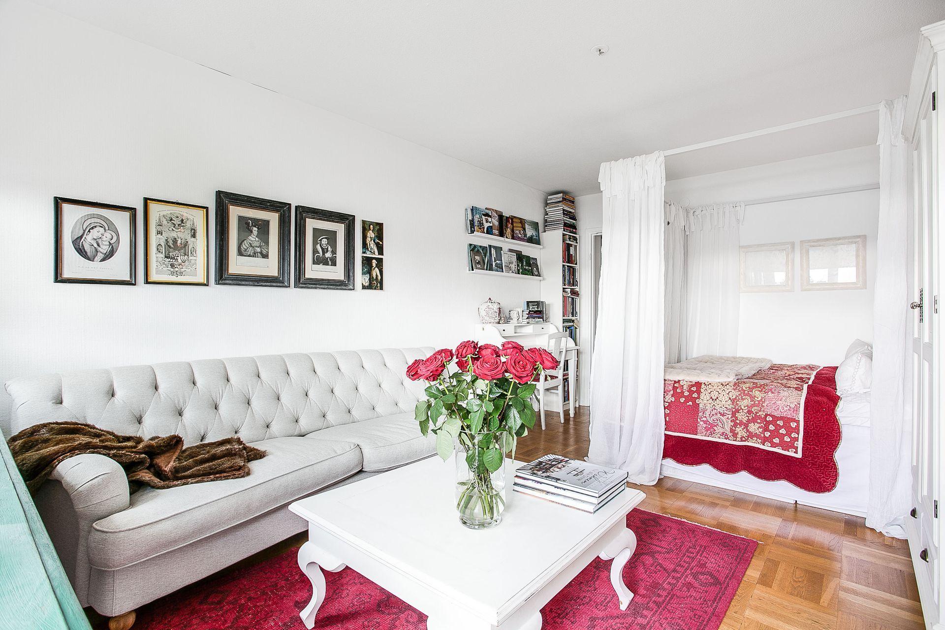 зонирование шторами однокомнатной квартиры фото