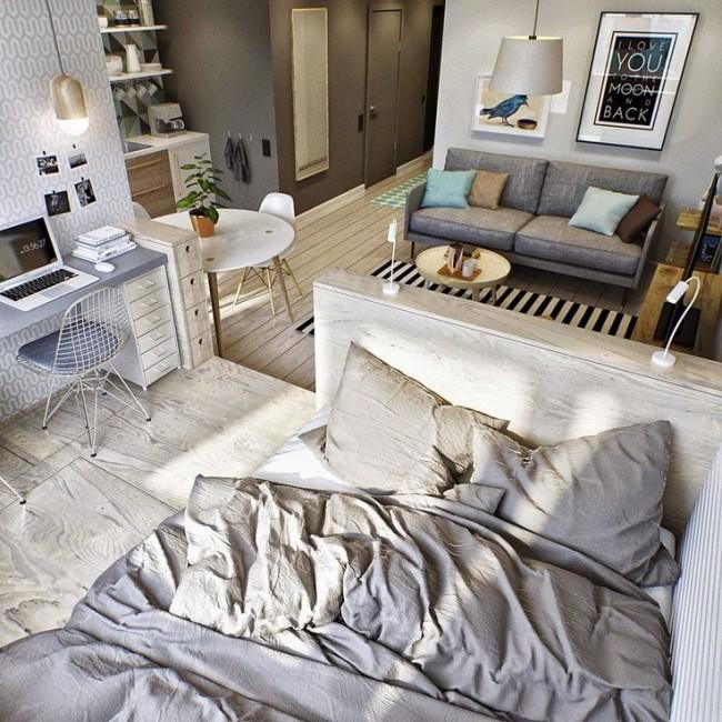 Небольшая квартира за счет правильно зонирования выглядит большой и функциональной