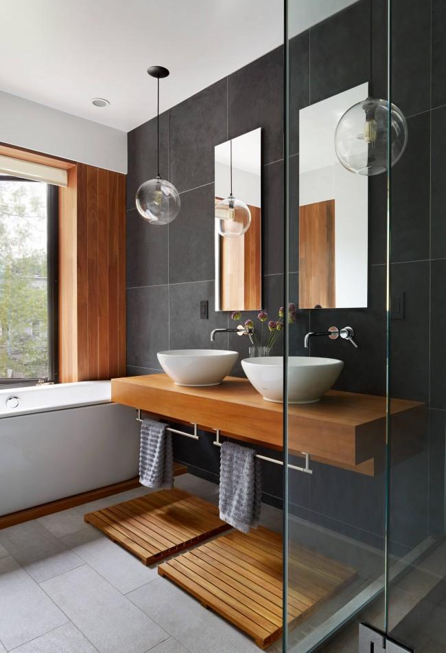 Черный цвет натурального камня или керамической плитки в ванной цвет стихии Воды, - хорош практически в любом секторе дома. Идеален - в северном квадрате Ло-Шу