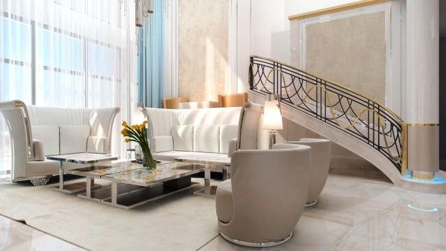 Двусветная гостиная в проекте частного дома площадью 500 кв.м