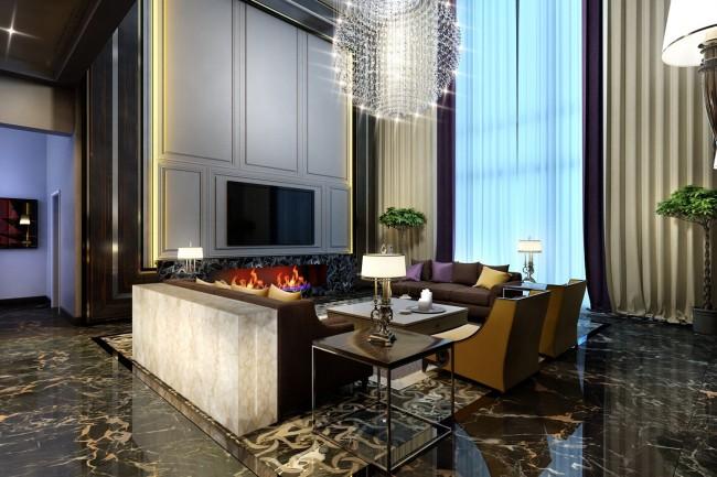 Пример зонирования двусветной гостиной в дизайн-проекте дома коттеджного поселка «Никольская Слобода»