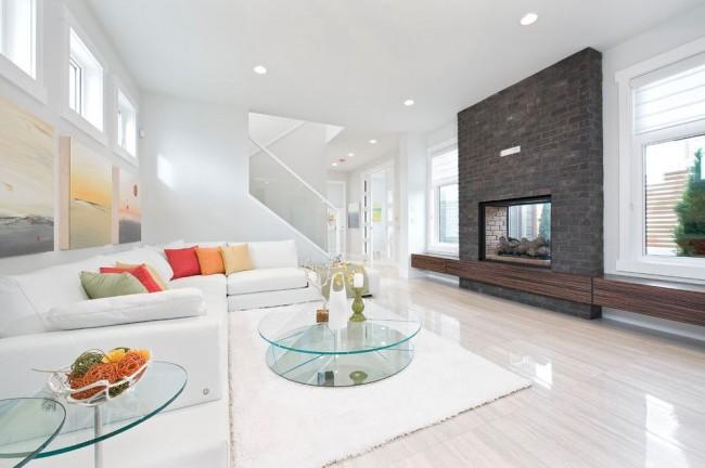 Роскошная гостиная в белых тонах