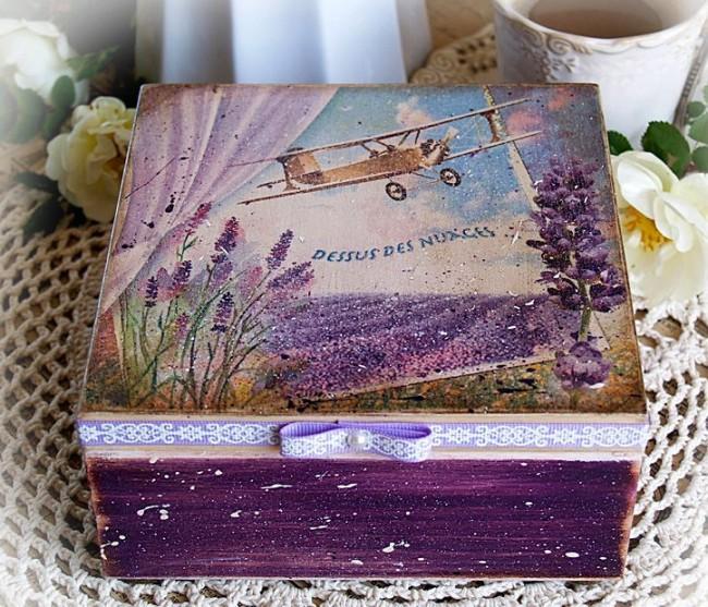 Шкатулка в стиле прованс, выполненная в сиреневом цвете
