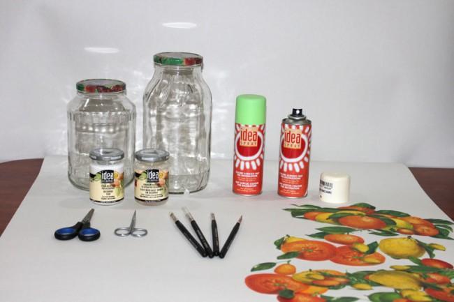 Необходимые материалы для декупажа изделия из стекла