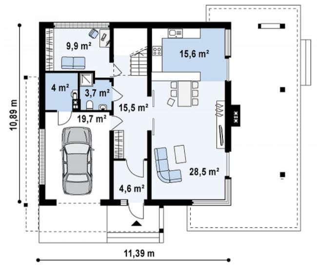 Рис. 3. Планировка первого этажа