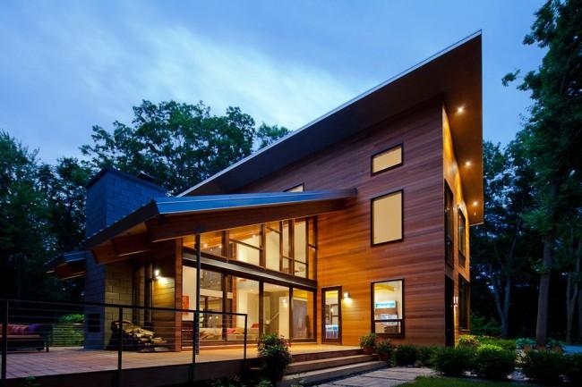Интересный проект дома с односкатной крышей