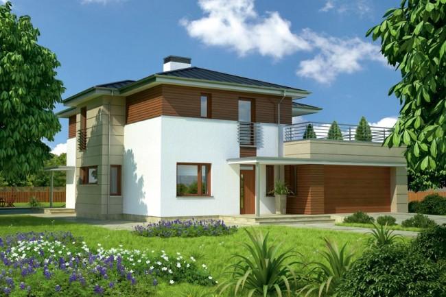 Рис. 9. Проект двухэтажного дома с гаражом