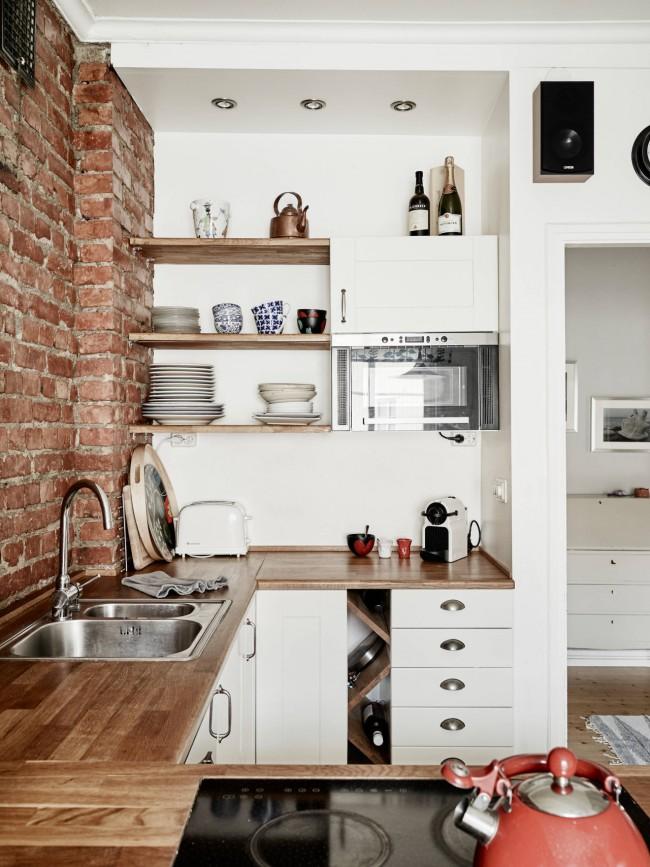 Скандинавская кухня с элементами стиля прованс в декоре