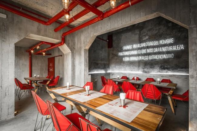 Оригинальный дизайн ресторана в стиле техно