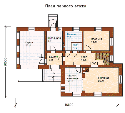 Рис. 1 План первого этажа (обращает внимание наличие отдельного входа в котельную, где установлена печь, а также общий тамбур для входа с улицы и гаража)