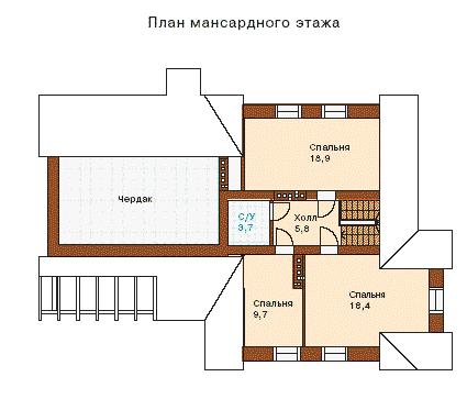 Рис. 2 План второго этажа дома с мансардой