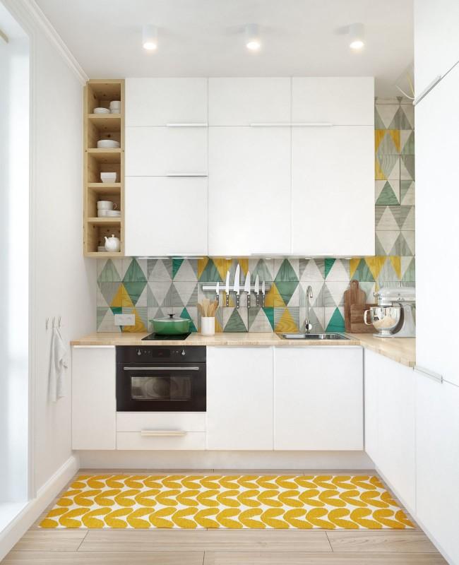 Главная задача ремонта в такой кухне - визуальное ее расширение