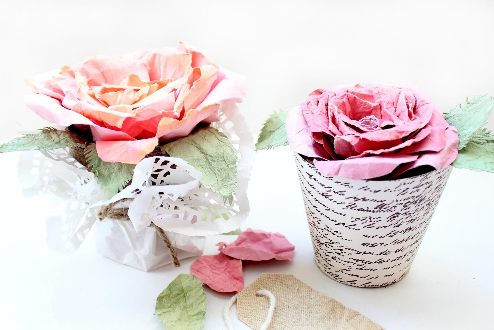 Цветы из ткани в горшок своими руками