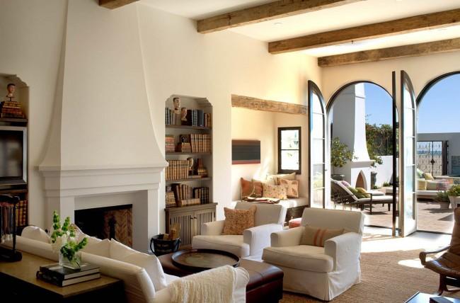 Подобная гостиная хорошо подойдет для загородного дома