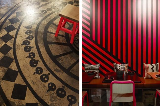 """Пол и стены ресторана мексиканской кухни, покрытые узорами. Здесь главенствуют яркие, """"горячие"""" цвета"""