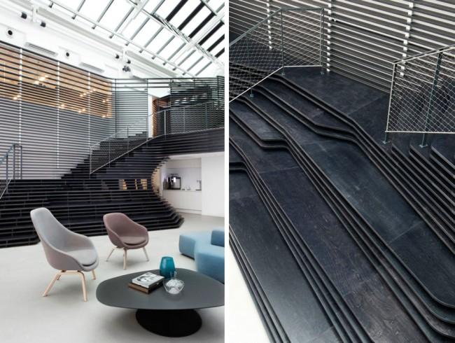 Офис консалтинговой компании в Осло, Норвегия. Взгляд здесь приковывают ступени, имитирующие скальные наслоения