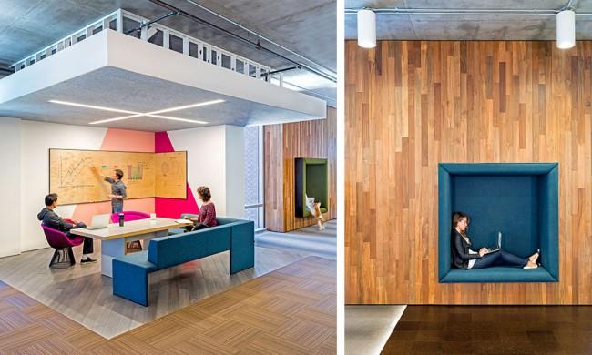 Офис Cisco: яркие цвета и множество самых разнообразных по функциональности пространств для работы, формальных и неформальных встреч и обсуждений. Сан-Франциско, США