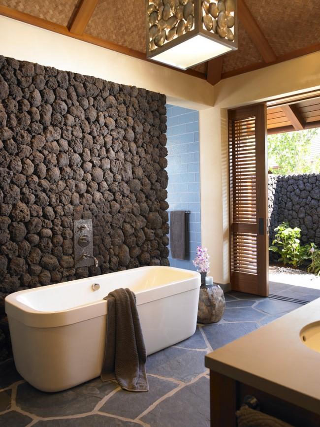 Красивая ванная комната в эко-стиле