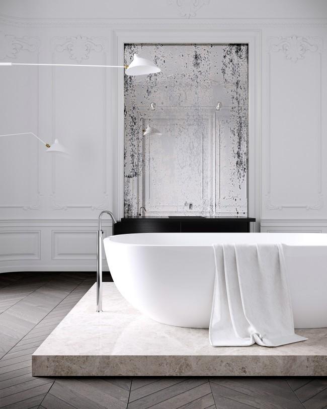 Легкая ванна, установленная на декоративную плиту-подиум из искусственного камня