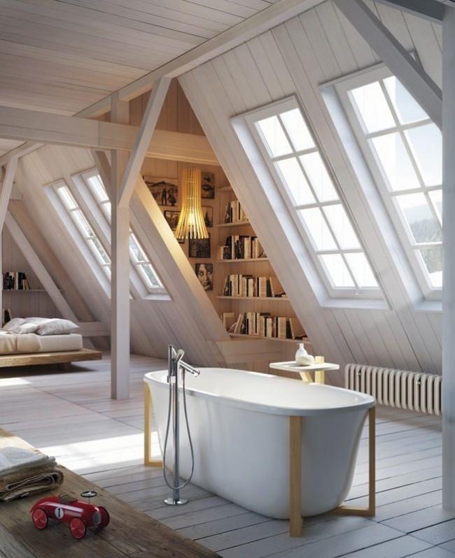 Мансарда частного дома с ванной